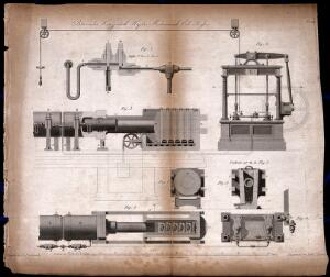 view Hydraulics: section and details of the Bramah hydrostatic press. Engraving by Lowry after J. Farey.