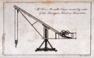 view Civil engineering: a moveable crane at Ramsgate Harbour, Kent, seen in side elevation. Engraving by Mutlow.