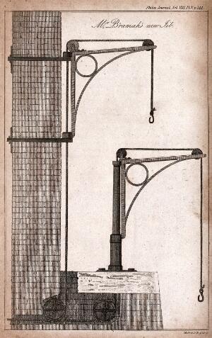 view Engineering: side elevation of the Bramah lifting jib. Engraving by Lowry after J. Farey.