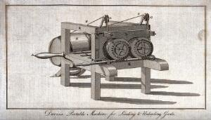 view Engineering: a portable windlass used in moving goods. Engraving by J. Taylor after C. Varley.