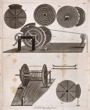 view Engineering: four kinds of crane. Engraving.