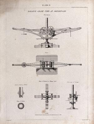 view Machines: a crane, and two kinds of winch. Engraving by A. Wilson after A. Slight.