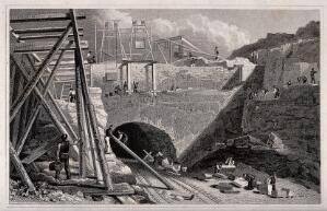 view Liverpool: a railway tunnel cut into the mountain side with men working on scaffolding above and cutting stone below. Engraving by C. and G. Pyne after J. Davies.