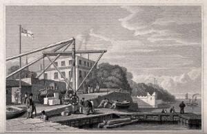 view Birkenhead Ferry, opposite Liverpool: dockside scene with men working near a crane. Engraving by J. Davies, 1831, after C. and G. Pyne.