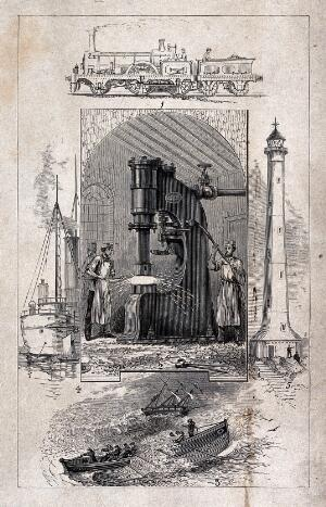 view Machinery: a steam-hammer and operatives. Wood engraving, c.1870 (?).