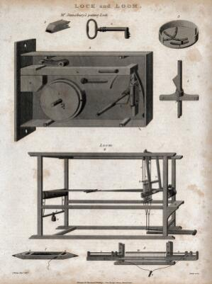 view Engineering: a lock, showing the key, and a loom, with shuttle. Engraving by Porter after J. Farey, junior.
