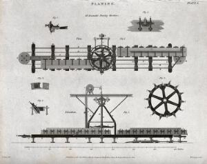 view Engineering: side elevation of the Bramah planing machine. Engraving by Lowry, 1814, after J. Farey.