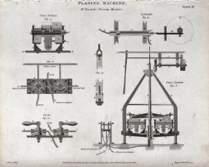 view Engineering: cross section of the Bramah planing machine. Engraving by Lowry, 1814, after J. Farey.