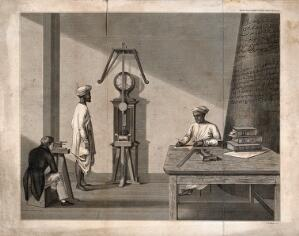 view Measurement: a scholar making observations of a pendulum, with two servants, one writing at a table. Engraving by J. Basire, 1822, after J. Goldingham, 1821.
