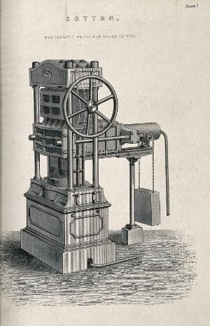 view Textiles: a steam-driven baling machine for cotton. Engraving.