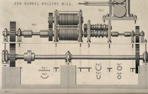 view Engineering: rolling mill used to produce gun barrels, with different stages in producing the shape shown below. Engraving c.1861.