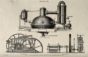 view Machinery: a steam-driven sugar mill. Engraving, 1861.