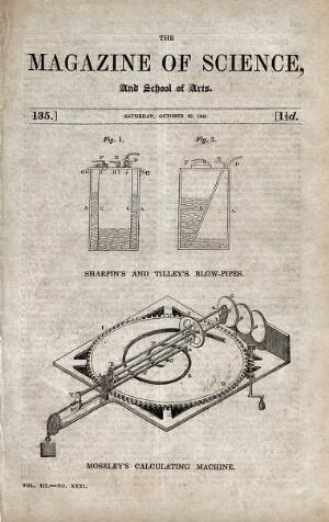 view Science: a pair of blow-pipes (above), and a calculating engine (below). Wood engraving, 1841.