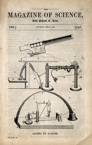 view Science: a trio of alarm mechanisms. Wood engraving, 1842.