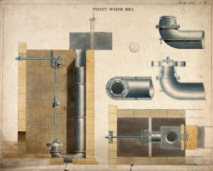 view Machinery: a steam-driven water mill. Coloured drawing, 1854.