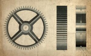 view Engineering: a large cogwheel, front and side elevations. Coloured drawing, 1875.