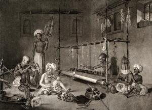view Textiles: several Indian workers spinning, and working at a loom. Stipple engraving.