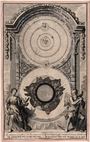 view Cosmology: creation of the heaven and the earth. Engraving by G. van der Gouwen after G. Hoet.