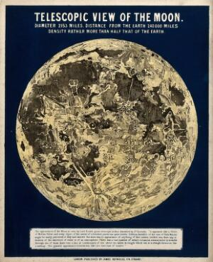 view Astronomy: the surface of the moon. Engraving.