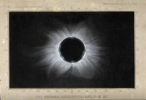 view Astronomy: the corona of the sun, viewed during a total solar eclipse. Process print after a photograph, 1871.
