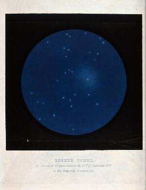 view Astronomy: stars in the night sky, with Encke's comet. Coloured engraving by J. Basire, 1851 after C. Piazzi Smyth.