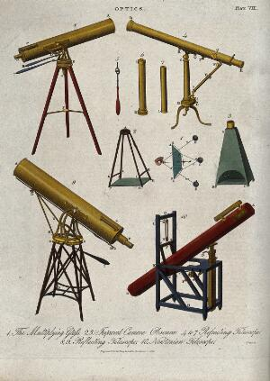 view Astronomy: several telescopes and tripods. Engraving.