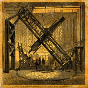 view Astronomy: a large telescope, at Greenwich Observatory. Coloured wood engraving.