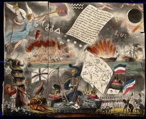 view Astronomy: various apocalyptic scenes, including an angel blowing the last trump, war, and shipwreck. Coloured lithograph, [c.1831?].