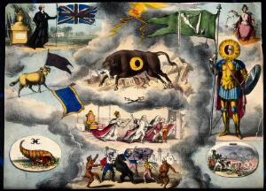 view Astronomy: various apocalyptic scenes, including riot, war, and shipwreck. Coloured lithograph, [c.1832?].