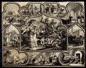 view Astronomy: various apocalyptic scenes, including a funeral, war, and riotous assembly. Lithograph, [c.1836?].