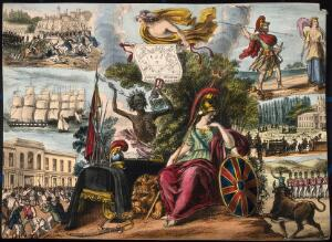 view Astronomy: various apocalyptic scenes, including a funeral, war, and riotous assembly. Coloured lithograph, [c.1838?].