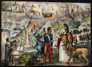 view Astronomy: various apocalyptic scenes, including Napoleon III addressing Britannia, a land battle, a mob being addressed by rival orators in the City of London, and a naval battle. Coloured lithograph, [c.1854?].