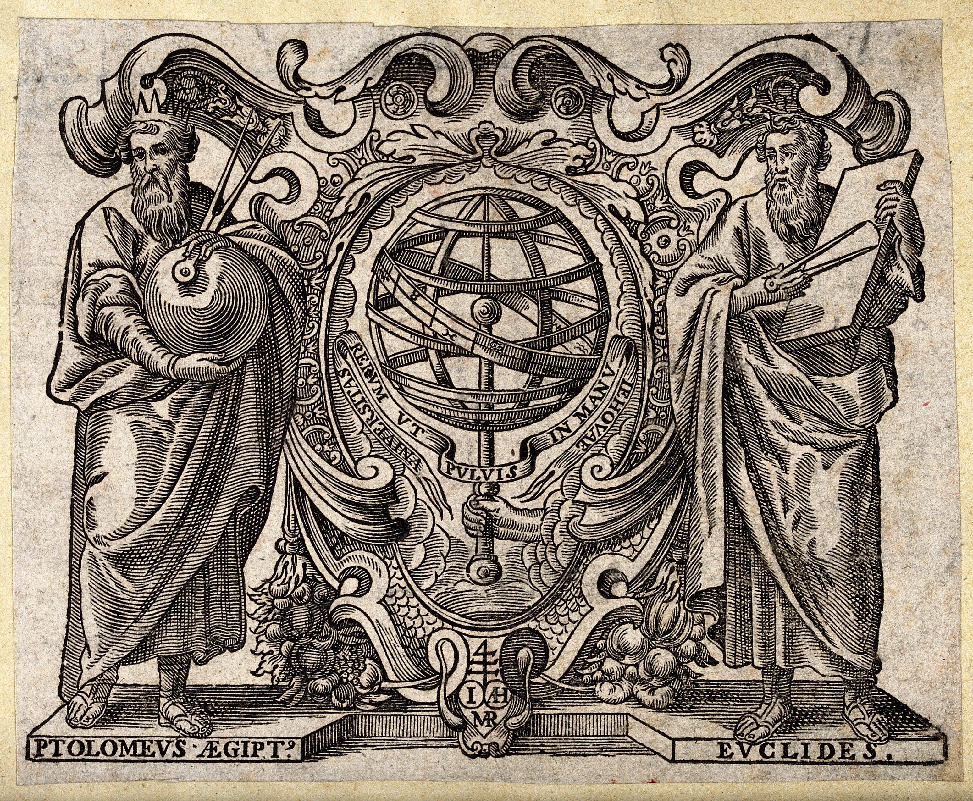 Astronomy: Ptolemy and Euclid with an armillary sphere between them
