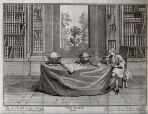 view A scholar named Cleveland sits in his library reading beside two globes. Line engraving, 17--.
