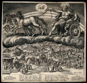 view Apollo riding the chariot of the Sun across the heavens. Engraving by J. Sadeler after M. de Vos.