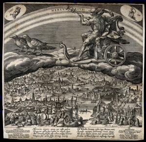 view Mercury in his chariot, riding across the heavens. Engraving by J. Sadeler after M. de Vos.
