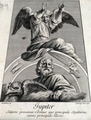 view Astronomy: Jupiter with an eagle, an angel above, looking heavenward. Engraving by N. Dorigny, 1695, after Raphael, 1516.