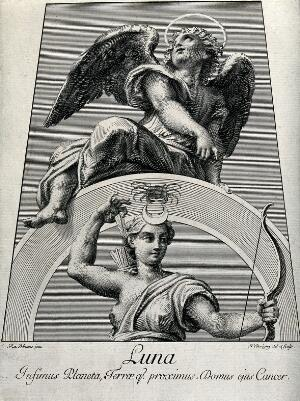 view Astronomy: Diana, as Moon goddess, an angel above looking heavenward. Engraving by N. Dorigny, 1695, after Raphael, 1516.