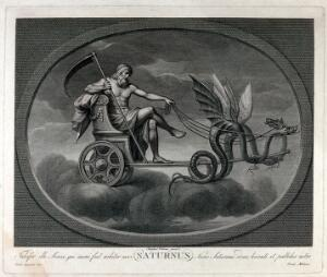 view Astronomy: Saturn with his scythe, riding in his chariot. Engraving by C. Lasinio after Raphael, 1516.