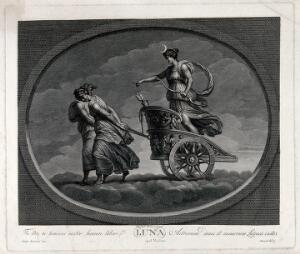 view Astronomy: the moon goddess (Diana), in her chariot drawn by a pair of women. Engraving by C. Lasinio, 1695, after Raphael, 1516.