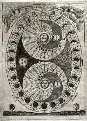 view Astronomy: the 28 phases of the moon in a lunar month. Engraving by P. Miotte.