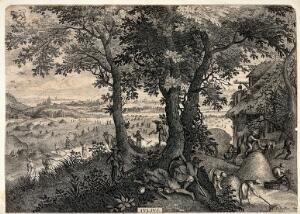 view Months of the year: July. Engraving after P. Stevens.