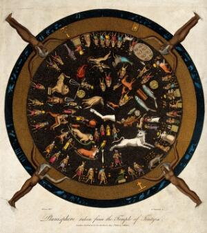 view Astrology: the Egyptian zodiac. Coloured engraving by J. Chapman after Denon.