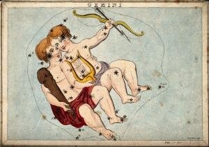 view Astrology: signs of the zodiac, Gemini. Coloured engraving by S. Hall.