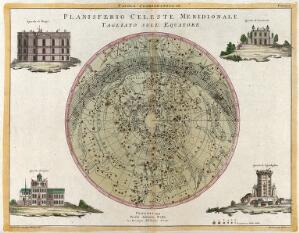 view Astronomy: a star map of the night sky. Coloured engraving, 1777.