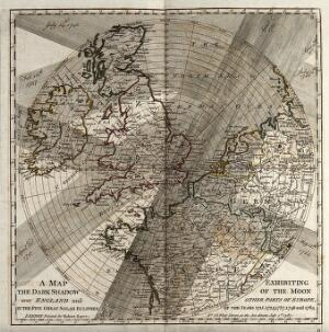 view Astronomy: a map showing the paths of several eighteenth century eclipses over England. Engraving, 1787.
