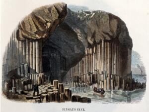 view Geography: men in a rowing boat, entering Fingal's Cave. Coloured wood engraving by C. Whymper, 18--.