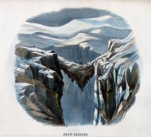 view Geography: a snow bridge formed between two glaciers. Coloured wood engraving by C. Whymper.