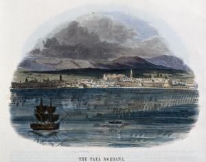 view Geography: a mirage in the straits of Messina. Coloured wood engraving by C. Whymper.