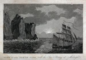 view Astronomy: a sailing ship at the North Cape, Norway, sailing under the midnight sun. Engraving, 1825.